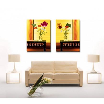 Tranh ghép bộ 2 bức hoa nghệ thuật DH1345A (kích thước 60x50cm)