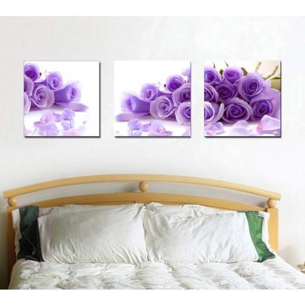Tranh ghép bộ 3 bức hoa Hồng xanh DH1593A (kích thước 120x40cm)