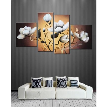 Bộ tranh sơn dầu hoa Sen trắng SD189 (kích thước 140x75cm)