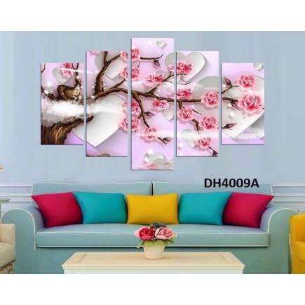 Tranh đồng hồ, tranh ghép bộ nghệ thuât 5 bức phong cảnh DH4009A