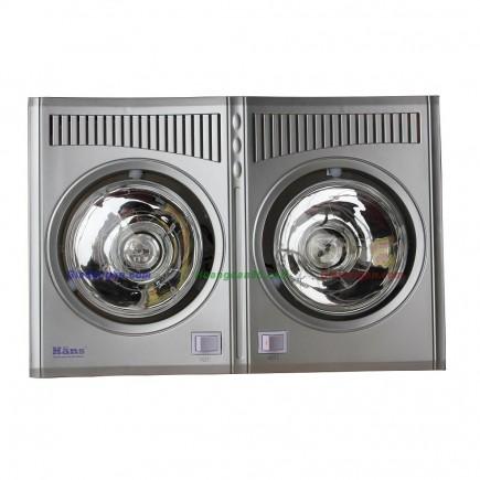Đèn sưởi nhà tắm 2 bóng trắng Hans H2B610