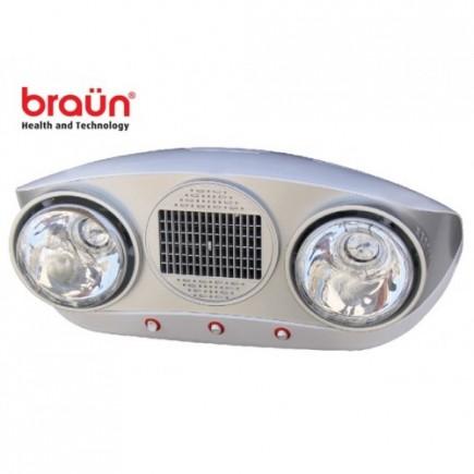Đèn sưởi nhà tắm Braun 2 bóng trắng có quạt thổi hơi nóng BU02P