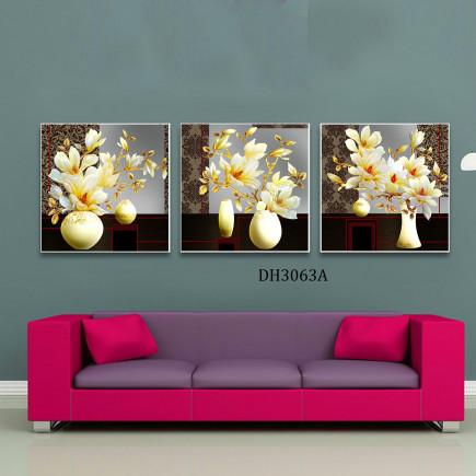 Tranh treo tường 3 bức tranh bình hoa DH3063A