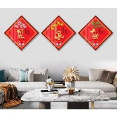 Tranh đồng hồ, tranh treo tường 3 bức Phúc  Lộc Thọ NT325
