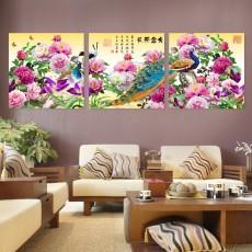 Tranh đồng hồ, tranh treo tường 3 bức nghệ thuật NT202