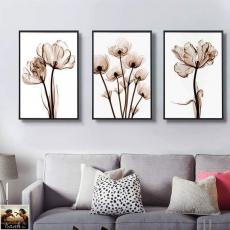 Tranh đồng hồ, tranh treo tường 3 bức hoa nghệ thuật  NT106