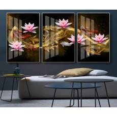 Tranh gương 3 bức  hoa sen MC76