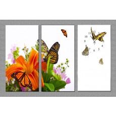 Tranh đồng hồ bộ 3 tấm bướm 2545 DH48A