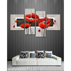 Bộ tranh sơn dầu hoa Violet đỏ SD191 (kích thước 160x85cm)
