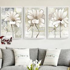 Tranh treo tường 3 bức nghệ thuật hoa Sen DH3304A