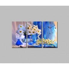 Tranh đồng hồ hoa cúc trắng DH1162A (kích thước 75x45cm)