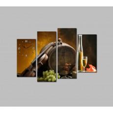 Tranh đồng hồ rượu Vang DH1163A (kích thước 120x80cm)