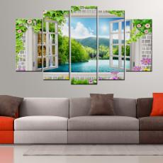 Tranh ghép bộ phong cảnh 5 bức cửa sổ DH2797A