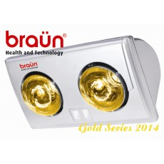 Đèn sưởi nhà tắm 2 bóng vàng BRAUN BU02G