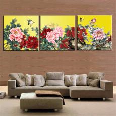 Tranh bộ 3 bức hoa mẫu đơn DH2981A