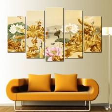 Tranh ghép bộ 5 bức hoa sen DH2450A (kích thước 150x90cm)