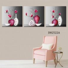 Tranh treo tường 3 bức nghệ thuật bình hoa DH2522A