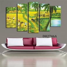 Tranh ghép bộ phong cảnh 5 bức làng quê DH2746A