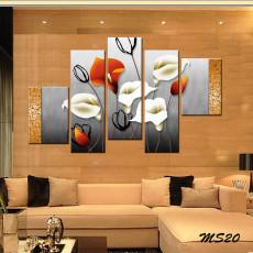Tranh ghép bộ nghệ thuât 5 bức hoa nghệ thuật MS20