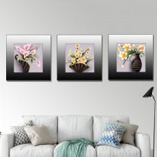 Tranh đồng hồ, tranh treo tường 3 bức nghệ thuật NT132