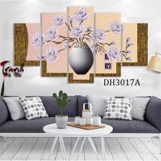 Tranh ghép bộ nghệ thuât 5 bức nghệ thuật bình hoa DH3017A