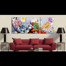 Tranh treo tường 3 bức nghệ thuật chim công CC02