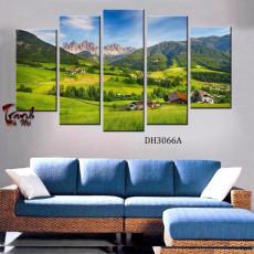 Tranh ghép bộ nghệ thuât 5 bức phong cảnh DH3066A