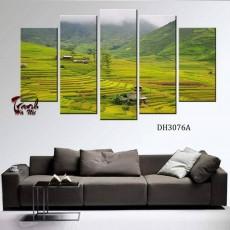 Tranh ghép bộ nghệ thuât 5 bức phong cảnh DH3076A
