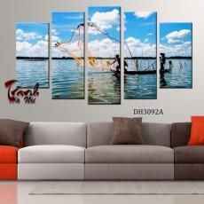 Tranh ghép bộ nghệ thuât 5 bức phong cảnh DH3092A