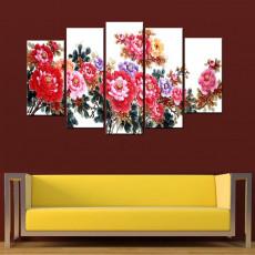 Tranh ghép bộ nghệ thuât 5 bức hoa Mẫu Đơn BT058