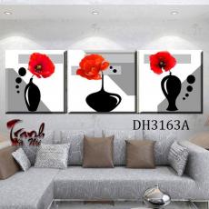 Tranh treo tường 3 bức tranh bình hoa DH3163A