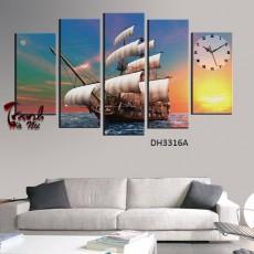 Tranh đồng hồ , tranh treo tường 5 bức thuận buồm xuôi gió DH3316A