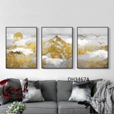 Tranh đồng hồ, tranh treo tường nghệ thuật phong cảnh DH3467A