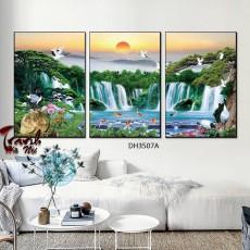 Tranh đồng hồ, tranh treo tường nghệ thuật phong cảnh DH3507A