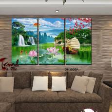 Tranh đồng hồ, tranh treo tường nghệ thuật phong cảnh DH3509C