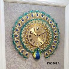 Đồng hồ trang trí chim công vàng DHS309