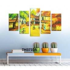 Tranh đồng hồ, tranh ghép bộ nghệ thuât 5 bức phong cảnh làng quê DH3710A