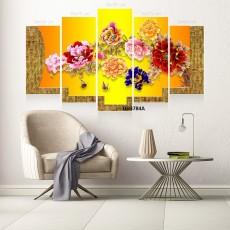 Tranh đồng hồ, tranh treo tường, 5 bức hoa mẫu đơn DH3784A
