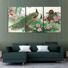 Tranh đồng hồ, tranh treo tường nghệ thuật Chim Công DH3799A