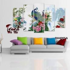 Tranh đồng hồ, tranh treo tường nghệ thuật Chim Công DH4005A