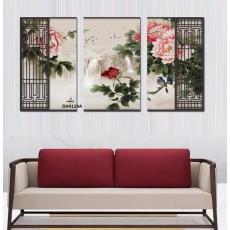 Tranh đồng hồ, tranh treo tường 3 bức hoa nghệ thuật DH4124A