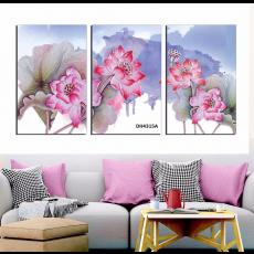 Tranh đồng hồ, tranh treo tường 3 bức hoa nghệ thuật DH4315A