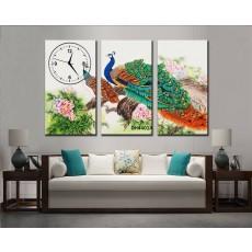 Tranh đồng hồ, tranh treo tường nghệ thuật Chim Công DH4401A