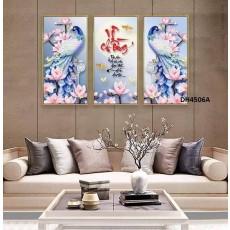Tranh đồng hồ, tranh treo tường nghệ thuật Chim Công DH4506A