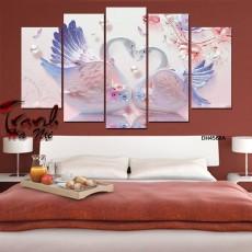 Tranh đồng hồ, tranh treo tường nghệ thuật Chim Thiên Nga DH4568A