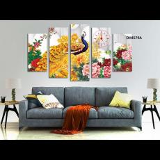 Tranh đồng hồ, tranh treo tường nghệ thuật Chim Công  DH4579A