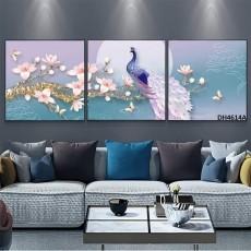 Tranh đồng hồ, tranh treo tường 3 bức nghệ thuật DH4614A