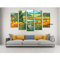 Tranh đồng hồ, tranh ghép bộ nghệ thuât 5 bức phong cảnh làng quê DH4635A
