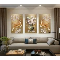 Tranh đồng hồ, tranh treo tường nghệ thuật Hươu phú quí DH4699A