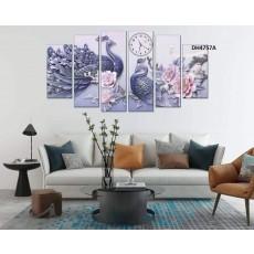 Tranh đồng hồ, tranh treo tường nghệ thuật Chim Công  DH4757A